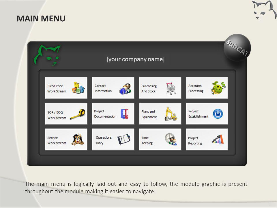 MAIN MENU MAIN MENU [your company name]
